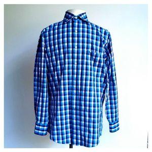 IZOD Men Blue White Plaid Long Sleeve Shirt